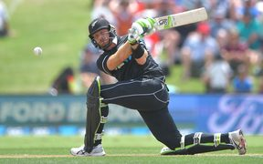 Black Cap Martin Guptill plays a shot during the first ODI cricket match between New Zealand and Sri Lanka.