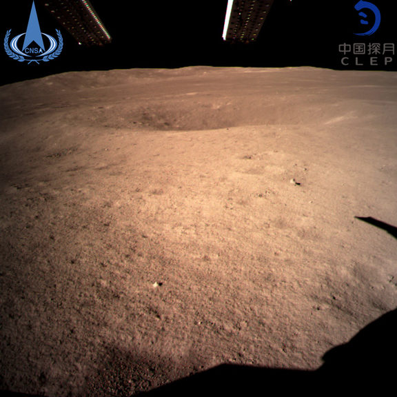 The image from the China National Space Administration shows the first image of the moon's far side taken by China's Chang'e-4 probe.
