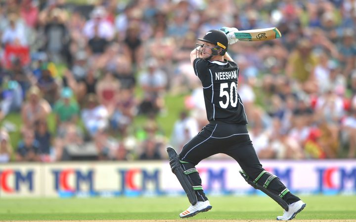 Blackcaps' James Neesham plays a shot during the first ODI cricket match between New Zealand and Sri Lanka at Bay Oval 2018.