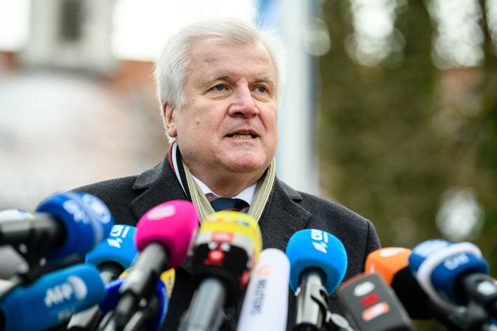 German Interior Minister Horst Seehofer, outgoing leader of the conservative Christian Social Union (CSU) party, gives a statement as he arrives for the CSU parliamentary group's retreat at Kloster Seeon monastery in Seeon, southern Germany, on January 3, 2019.