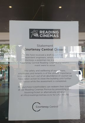 A sign at Reading Cinemas Courtenay Place informing of the closure.
