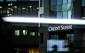 The logo of Swiss banking group Credit Suisse on November 11, 2018 in Geneva.