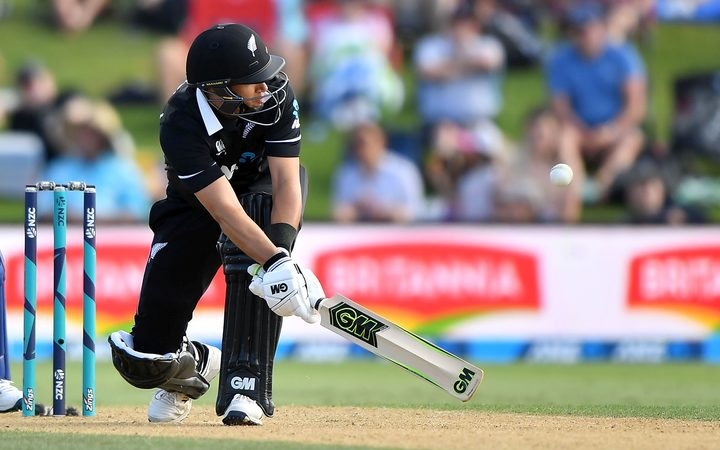 Blackcaps' Ross Taylor plays a shot during the second ODI cricket match between New Zealand and Sri Lanka at Bay Oval on  5 January 2019.
