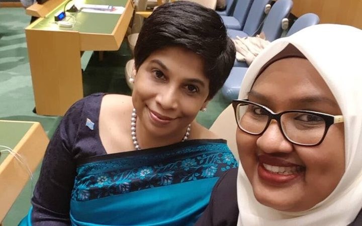 Nazhat Shameem, left, and a staff member in Geneva
