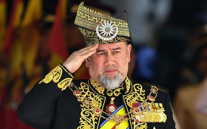17 2018 shows the 15th king of Malaysia Sultan Muhammad V saluting a royal guard of honour during the opening ceremony of the parliament in Kuala Lumpur.- Malaysia's King Sultan Muhammad V has abdicated a statement from