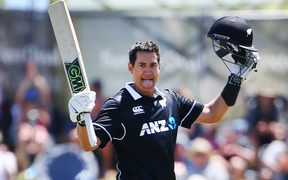 Black Caps Ross Taylor celebrates his 100 runs during the Third ODI cricket match between New Zealand and Sri Lanka.