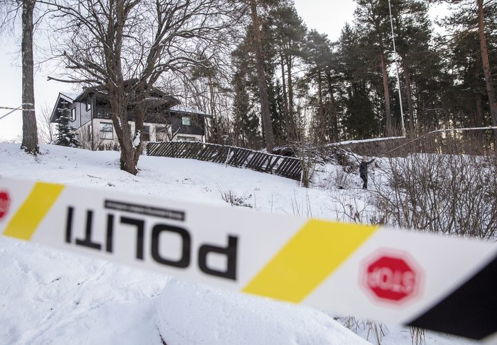 The house of Norwegian multi-millionaire Tom Hagen is cordonned off in Fjellhamar, East of Oslo on January 9, 2019 as his wife Anne-Elisabeth Falkevik missing for 10 weeks is believed to have been kidnapped.