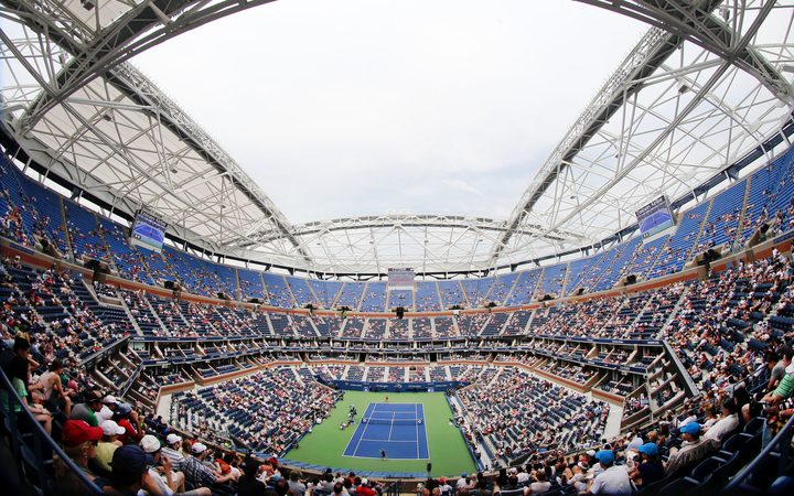 Arthur Ashe Stadium with the new roof in place during the US Open Tennis Tournament.