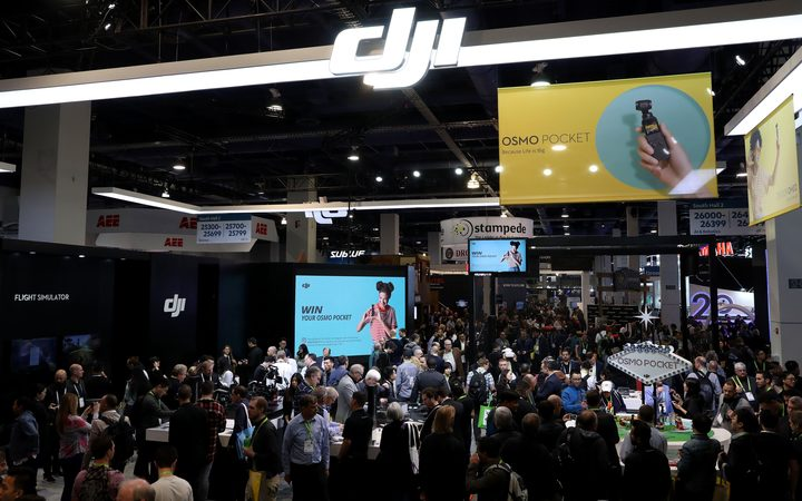 A view of the DJI booth during CES 2019 at the Las Vegas Convention Center on January 9, 2019.