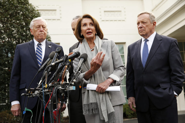 US House of Representatives speaker Nancy Pelosi (Dem, California) talks to reporters after meeting with US President Donald Trump, flanked by US House Majority Leader Steny Hoyer (Dem, Maryland), US Senate Minority Leader Chuck Schumer (Dem, NY) and US Senator Dick Durbin (Rep, Illinois).