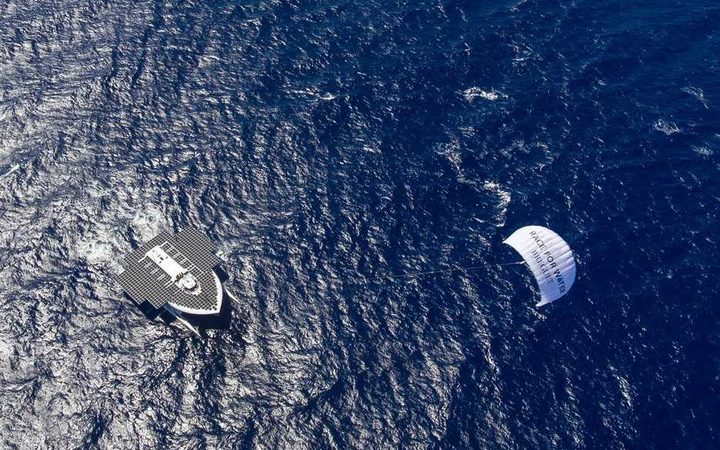 The Race for Water vessel is powered by solar energy and a kite