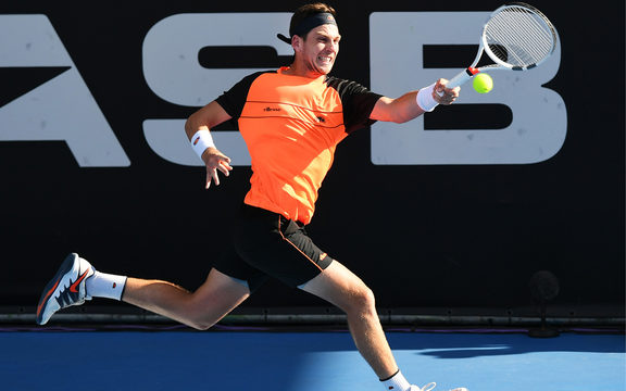 Cameron Norrie playing for Great Britain during the ASB Classic Quarter Finals.