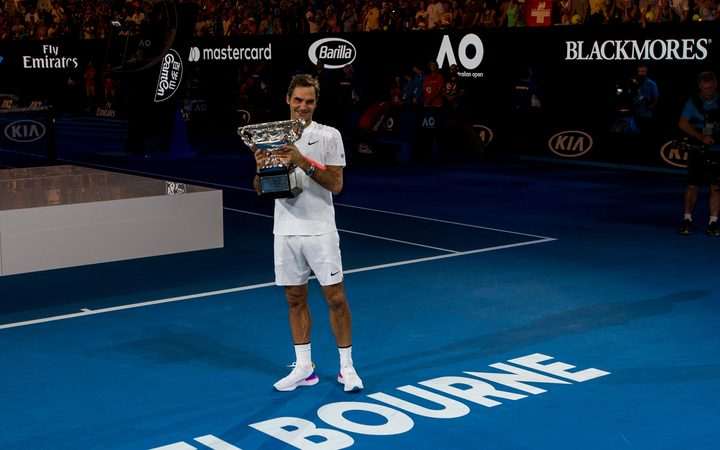 Roger Federer after his 2018 Australian Open victory.