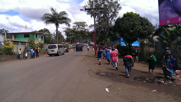 Street in Goroka, capital town of Papua New Guinea's Eastern Highlands province.