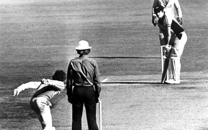 Trevor Chappell delivers the infamous underarm delivery.