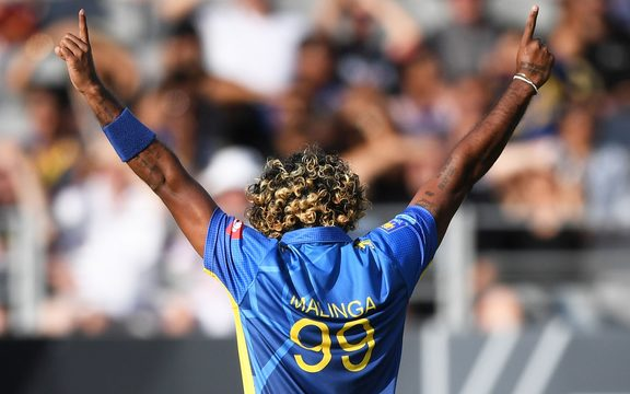 Lasith Malinga celebrates the wicket of Guptill during the T20 match between the Black Caps and Sri Lanka.