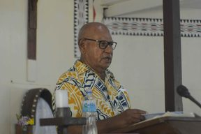 ABG President Grand Chief Dr John Momis addresses the Bougainville Public Service during their dedication mass at the Hahela Parish in Buka Town. The Mass was celebrated by Bougainville Diocese Bishop Bernard Unabali.