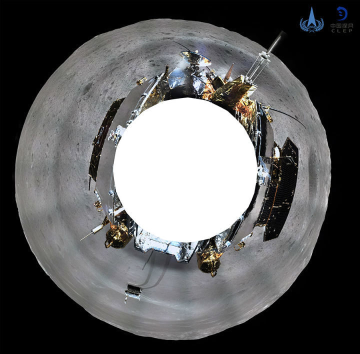 A 360-degree photo shows the grey moonscape, the lander and the rover. Chinese National Space Administration.