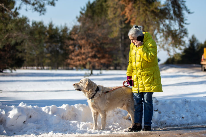Jeanne Nutter speaks to the press on January 11, 2019 in Gordon, Wisconsin. Nutter, walking her dog near the cabin she owns with her husband Forrest on January 10, encountered Jayme Closs coming out of nearby woods.