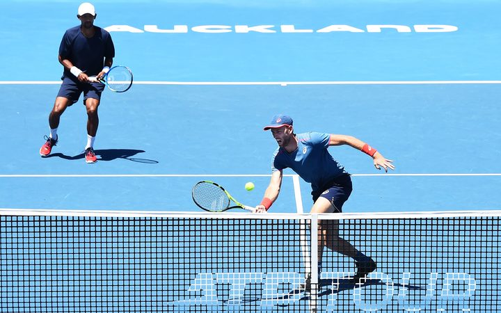 Raven Klaasen from South Africa and Michael Venus from New Zealand during the ASB Classic Doubles Finals.