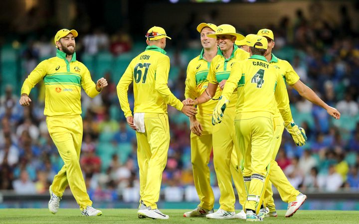 The Australian Cricket Team celebrate after they beat India 2019.