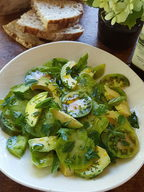 Green Tomato and Avocado salad