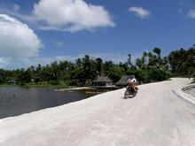 A motorbike on a road in Kiribati