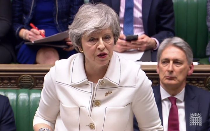 Britain's Prime Minister Theresa May  makes a statement to the House of Commons in London on January 14, 2019.