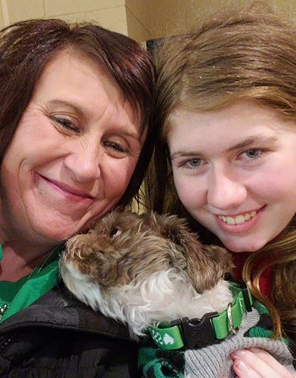 Jayme Closs (right) with her aunt Jennifer Naiberg Smith and Molly the dog,after being reunited on January 11, 2019.