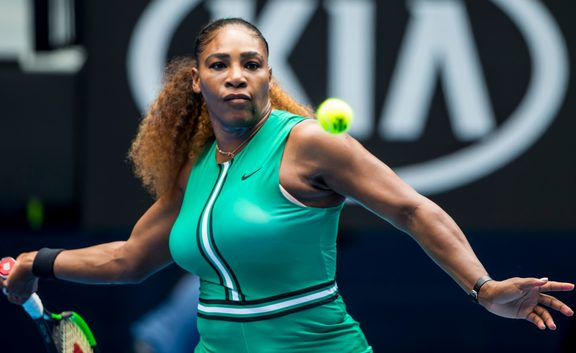 Serena Williams lines up a forehand in Melbourne.