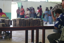 Stacks of voting cards for Vanuatu's 2012 elections
