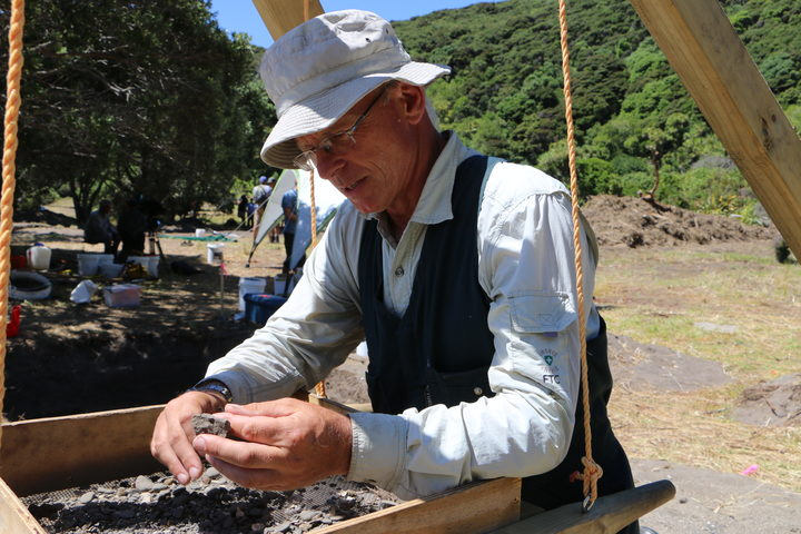 Lead archaeologist Dr James Robinson at the dig site at Mangahawea Bay on Moturua Island.