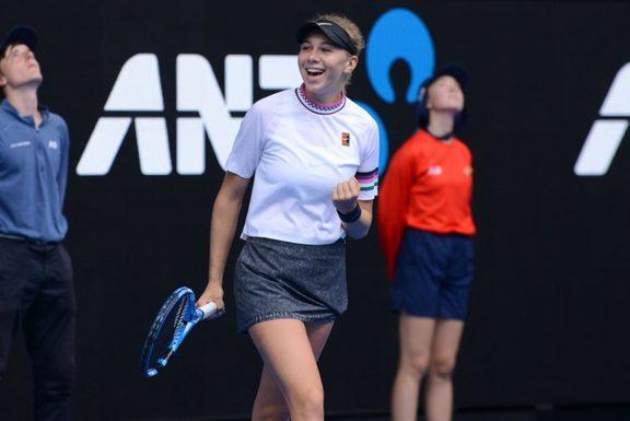 Amanda Anisimova of USA gestures after winning her Australian Open 2019 Women's Singles match against Aryna Sabalenka of Belarus