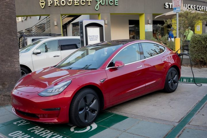 Tesla Model 3 at a charging station provided by the San Francisco startup Volta.