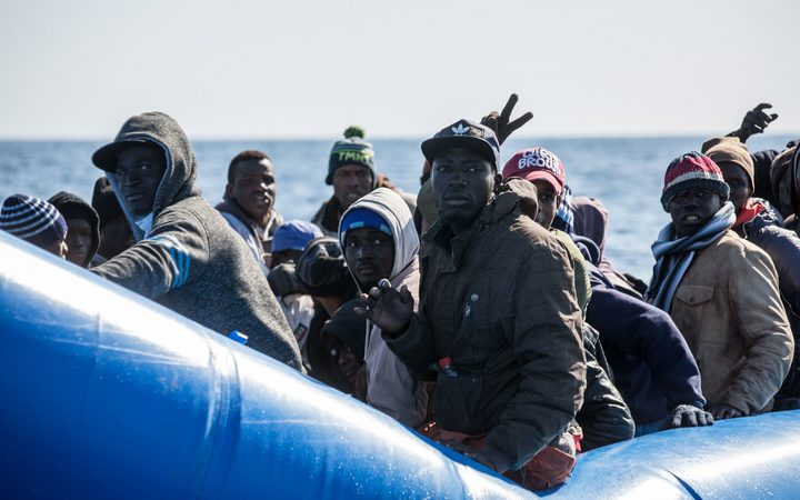An inflatable boat with 47 migrants on board being rescued off Libya's coast on January 19, 2019. The German charity group Sea Watch said it was not known if they belonged to the same group that was feared missing off the Libyan coast.