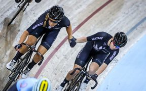 New Zealand's Rushlee Buchanan and Racquel Sheath compete in the Madison.