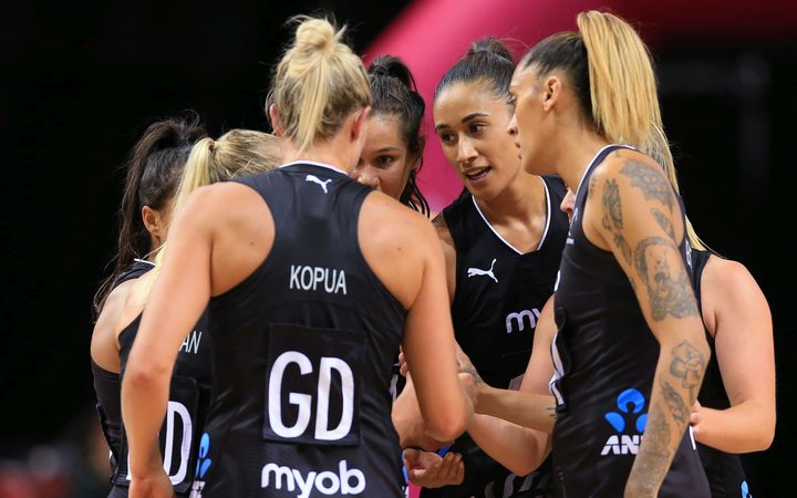 Silver Ferns huddle during the Quad Series