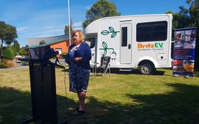 Energy and Resources Minister Megan Woods announces the fifth round of funding for low-emission vehicle initiatives.