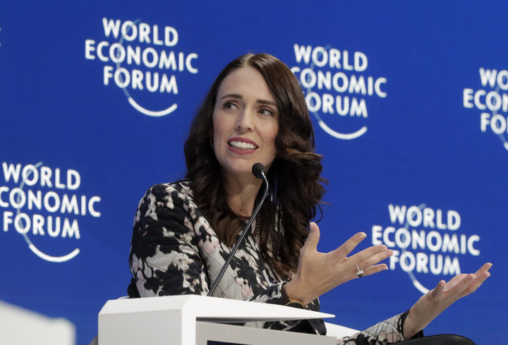 Prime Minister Jacinda Ardern speaks during the Safeguarding the planet session at the World Economic Forum in Davos, Switzerland.