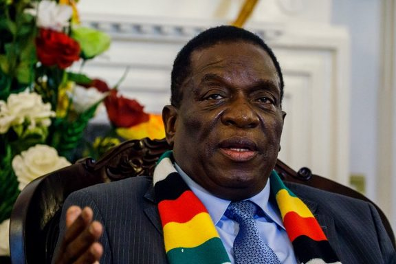 (FILES) In this file photo taken on September 7, 2018 Zimbabwe's President Emmerson Mnangagwa answers questions  AFP)