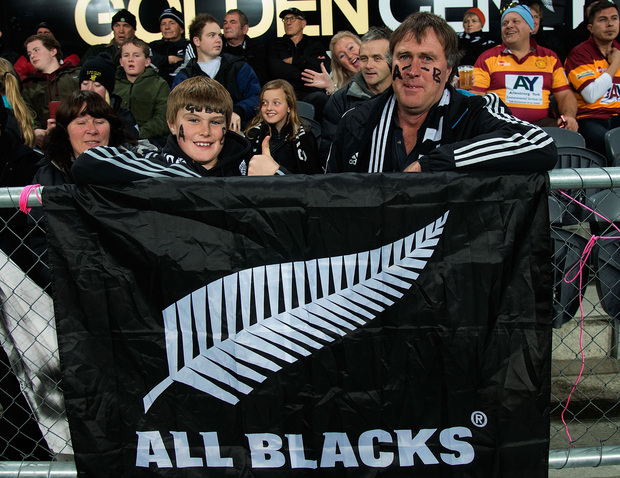 All Black fans at Dunedin's Forsyth Barr Stadium during the second test against England.