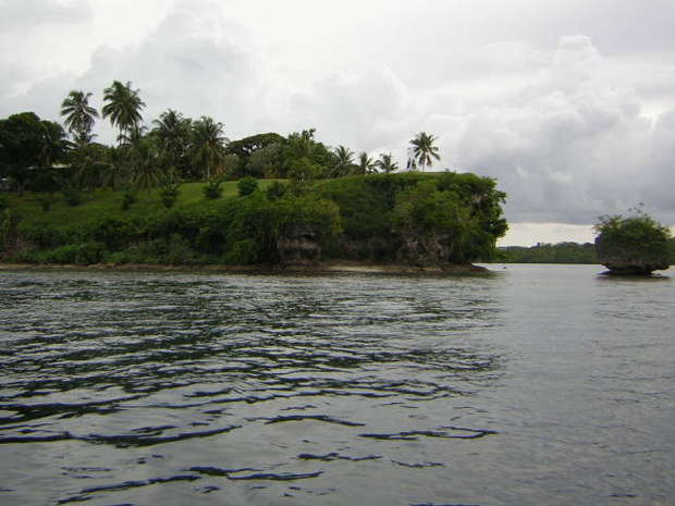 A cliff on the shoreline of an island in Bougainville, Papua New Guinea