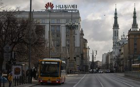 The Huawei logo on a building in the center of Warsaw, Poland.