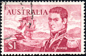 A stamp printed Australia, shows the portrait of Captain Matthew Flinders, circa 1966