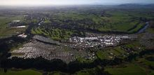 An aerial view of Fieldays at Mystery Creek.