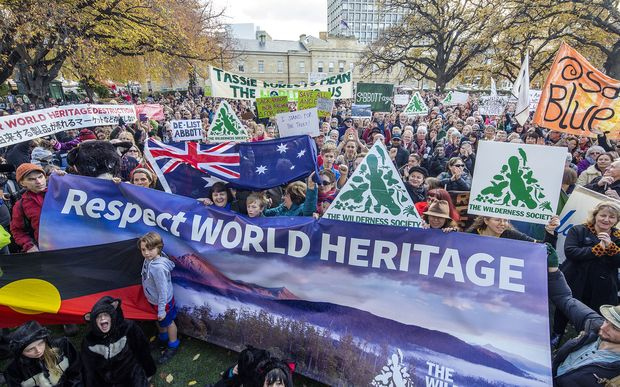 About 5000 Tasmanians at a rally in Hobart opposing the delisting of Tasmania's World Heritage forests in Hobart.