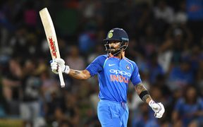 India's captain Virat Kohli 50 not out.