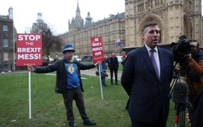 British Conservative Party MP Graham Brady, chairman of the Conservative Party 1922 Committee of MPs, speaks to the media outside the Houses of Parliament in central London on December 12, 2018.