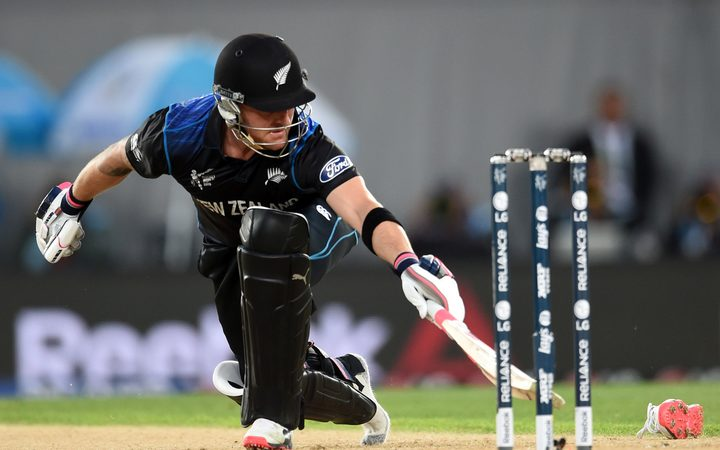 New Zealand captain Brendon McCullum loses his shoe during his whirlwind innings during the Cricket World Cup Semifinal match between New Zealand and South Africa at Eden Park, 2015.