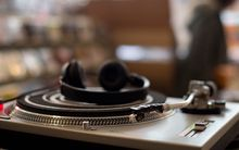 Turntable in record shop.